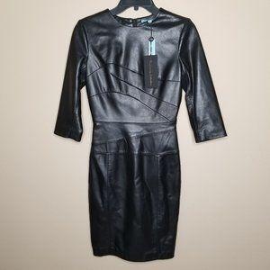 Antonio Melani Luxury Abigail Leather Fitted Dress
